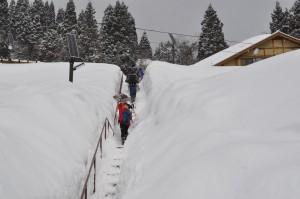 雪に埋まった休憩所への登り階段