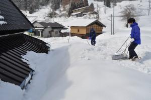 雪を投げ上げる場所の除雪