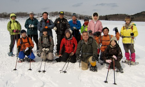 大雪原で記念撮影