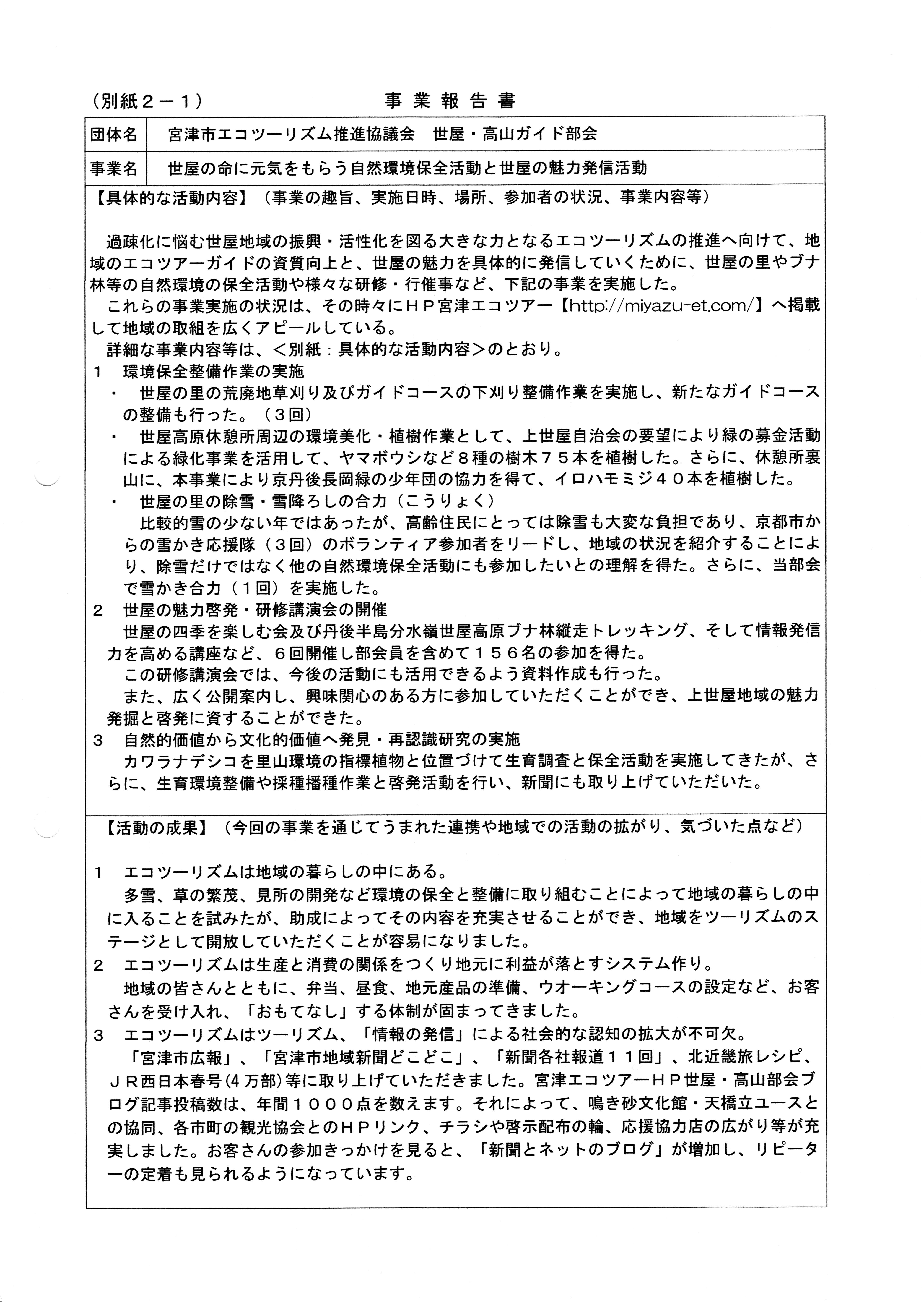 実績報告別紙2-1