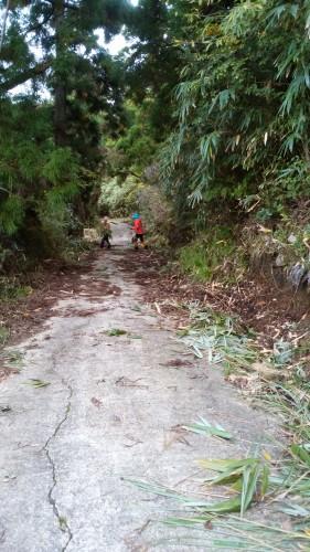 笹を道の横によける作業中