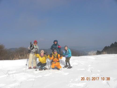橋立の見えるスキー場で記念撮影