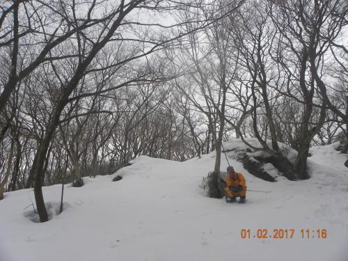 スキー場上からも作業道に降りずに林のの中を歩いて登ることが出来ました。雪は50センチぐらいです。